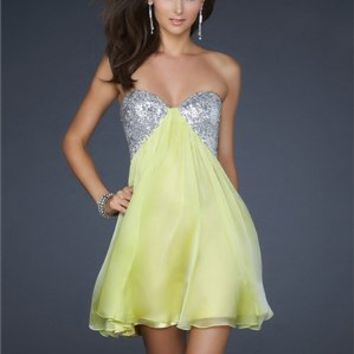 Short A-Line Sweetheart Empire Beaded Chiffon Prom Dress PD1908