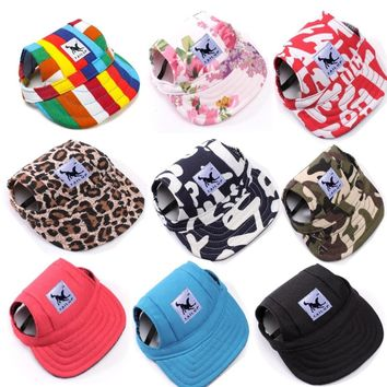 TAILUP Dog Hat With Ear Holes Summer Canvas Baseball Cap For Small Pet Dog Outdoor Accessories Hiking Pet Products 7A0138