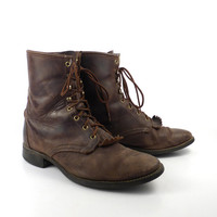 Brown Roper Boots Vintage 1980s Distressed Laredo Lace up Boots  Men's size 12 EE