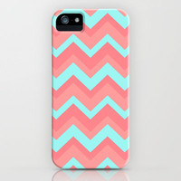 Chevron pattern light pink and blue iPhone Case by RexLambo | Society6