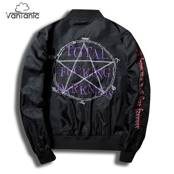Trendy Vantanic Fashion Letters Embroidery Bomber Jacket Men Coat Pilot Outerwear Jacket Stand Collar Plus Size Casual Hip Hop JTC52 AT_94_13