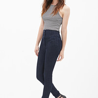 FOREVER 21 High-Waisted Skinny Jeans Dark Denim