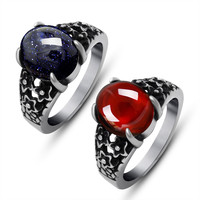 Palace restoring ancient ways men and women general garnet red ruby ring personality domineering titanium steel