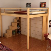LOFT WOODEN BED YEN | LOFT BED | CINIUS