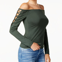 GUESS Catrina Off-The-Shoulder Laced Top | macys.com