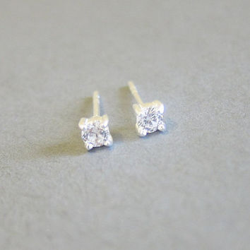 Tiny Sterling Silver 3mm Cubic Zirconia Stud Earrings, Cartilage Earring, tiny stud earrings