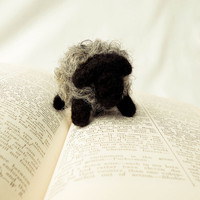 Needle Felted Bosley the Black and Gray Sheep by handmadebybrynne