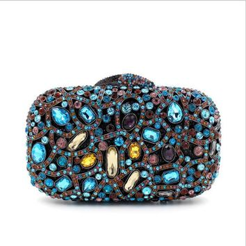 Colorful Crystal Wedding Box Evening Clutches Bridal Bags