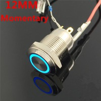 12mm Waterproof Momentary Stainless Steel Metal LED Doorbell Bell Horn Push Button Switch Car Auto Engine Power Start Starter