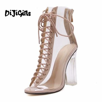 bd1101ce183 New Summer Sandals Sexy PVC Transparent Gladiator Sandals Cross