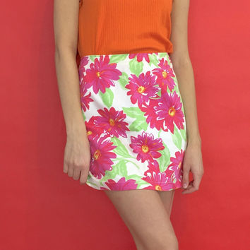 Vintage 90s 2000s Y2k High Waisted Pink and White Big Floral Print Mini Skirt Size 4