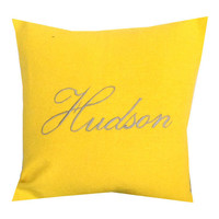Embroidered Name Pillow Covers. 18 Inches yellow Monogram Pillow Covers. Anniversary Gift. Spring Pillows