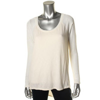 Michael Stars Womens Modal Blend Knit Trim Pullover Top