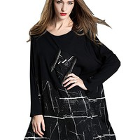 Women's Dress Long Sleeve Autumn Spring Knit Splice Chiffon Casual Loose Fitting Plus Size