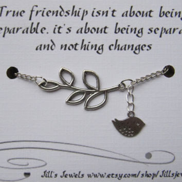 Best Friend Infinity Charm Bracelet with Leaf and Bird Friendship Quote Card -  Friendship Bracelet - Quote Gift