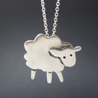 Sterling Sheep Necklace - Silver Lamb Pendant