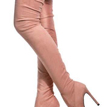 Blush Faux Suede Thigh High Pointed Toe Boots @ Cicihot Boots Catalog:women's winter boots,leather thigh high boots,black platform knee high boots,over the knee boots,Go Go boots,cowgirl boots,gladiator boots,womens dress boots,skirt boots.