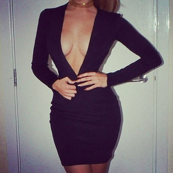Deep V-Neck Backless Long Sleeve Slim Bodycon Little Black Dress