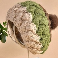 ball hat hand-knitted hats autumn and winter Wool cap,Warm hat,