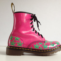 Pot Leaf Hot Pink Custom Dr. Martens // 8