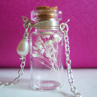 Glass Vial Necklace Glass Bottle Necklace  Make a Wish Necklace with Tiny White Dried Flower