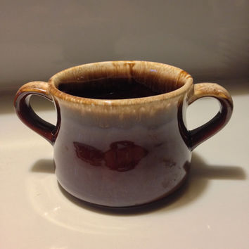 McCoy Brown Drip Ware Soup Bowl French Onion, Au Jus, Sugar Bowl, Double Handled Pottery USA