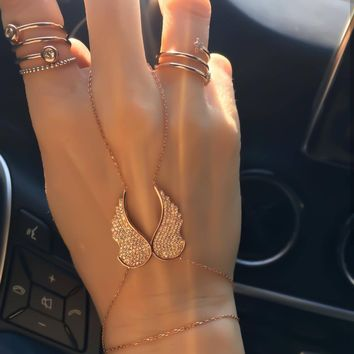 Gold Zirconia Double Wings Slave Bracelet Hand Chain | 925 Sterling Silver