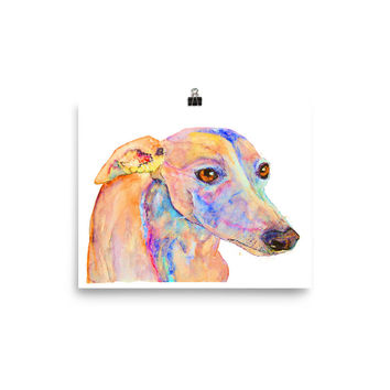 Doby - whippet print, dog lovers gifts, painting from photo, pet loss portrait, custom pet portrait, cubicle decor, first anniversary