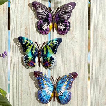 Sets of 3 Butterfly Wall Plaques