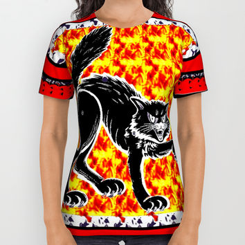 scary cat ( Halloween) All Over Print Shirt by Kathead Tarot/David Rivera