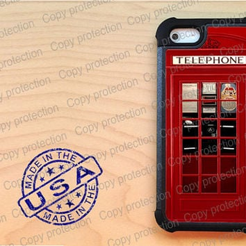 SALE British Telephone booth iPhone 5 case with extra protection- London retro iPhone 5 hard case, 2 piece rubber lining case