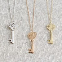 Monogram Heart Key Necklace