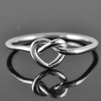 love knot ring heart knot ring infinity ring heart by JubileJewel