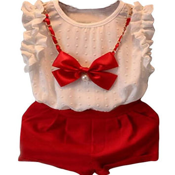 3pc Girls Casual White/Red Dress