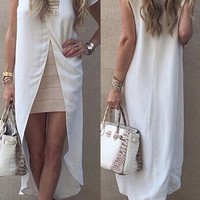 White Short Sleeve High Slit Maxi Dress