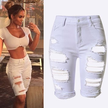 2016 New Arrival Summer White Shorts Women High Waist Shorts Ripped Short Jeans Woman Denim Shorts Pantalones Cortos Mujer