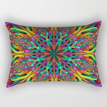 Crazy colors 3D mandala Rectangular Pillow by Natalia Bykova