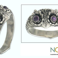 Sterling Silver 'Owl Wisdom' Amethyst Ring (Indonesia) | Overstock.com