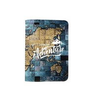 Let's Go On An Adventure World Map Leather Passport Cover - Vintage Passport Wallet - Travel Accessory Gift - Travel Wallet for Women and Men _Mishkaa