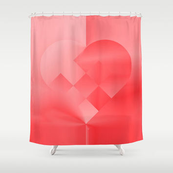 Danish Heart Love Shower Curtain by Gréta Thórsdóttir  #love #heart #girly #Christmas #red #scarlet #ombre #pattern #bathrom