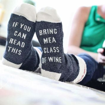 Day-First™ Custom wine socks If You can read this Bring Me Beer me Women Socks Cotton Warm socks