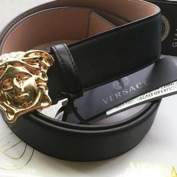 Gold Medusa Versace Black Belt Head Size 100/40 34-36 Waist