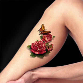 3D Rose & Butterfly Temporary Tattoo