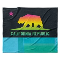 "Fimbis ""California"" Multicolor Teal Fleece Throw Blanket"