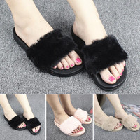 2017 Summer New Super Elegant Women Fashion Plush Slippers Leisure Shoes Soft Faux Fur Non-slip Slippers for Ladies