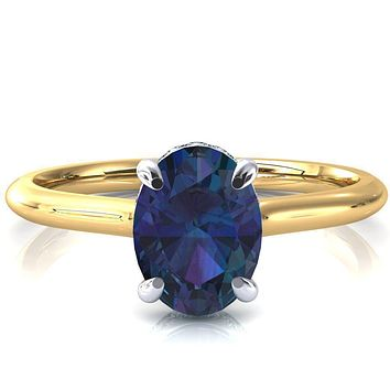 Secret Oval Alexandrite 4 Prong Floating Halo Engagement Ring