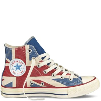 Converse - Chuck Taylor Distressed Union Jack - Hi - Parchment/Navy/Red