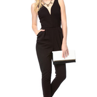 Black on Black Plunging Harem Jumpsuit