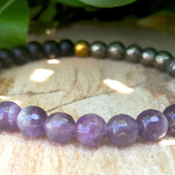 Protection Mens Womans Grounding Bracelet, Amethyst, Onyx, Hematite, Gold Pyrite, Calming, Energy Bracelet, Healing Stones