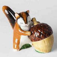 Squirrel And Acorn Salt + Pepper Shaker Set- Brown One